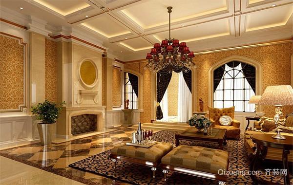 别墅型欧式客厅电视背景墙装修效果图欣赏