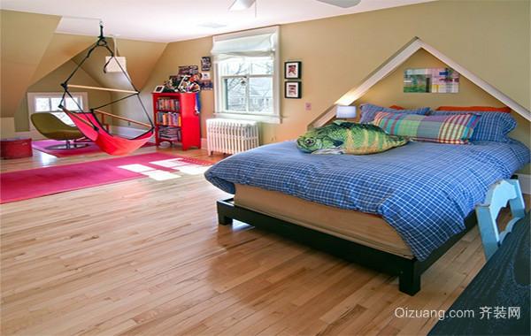 现代都市唯美的斜顶阁楼卧室装修效果图