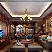 时尚复古美式别墅客厅装修效果图
