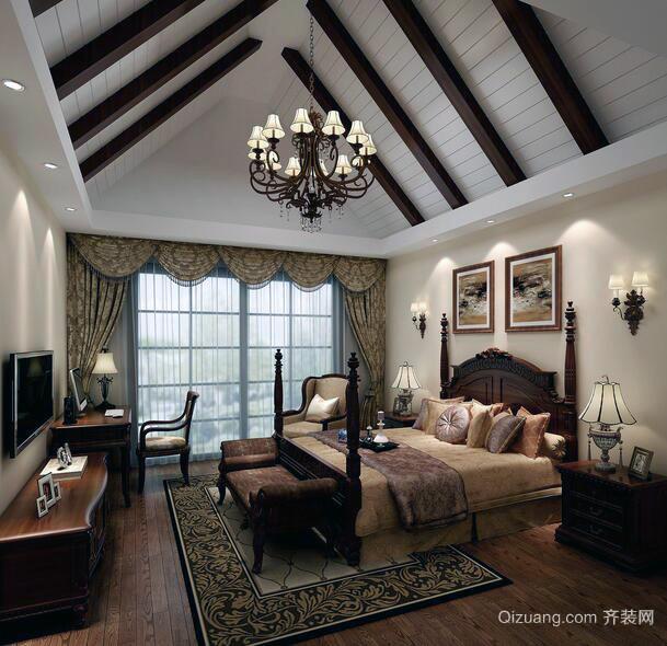 美式装修风格样板房卧室装修效果图实例