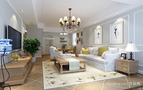 欧式别墅型家庭客厅电视背景墙装修效果图