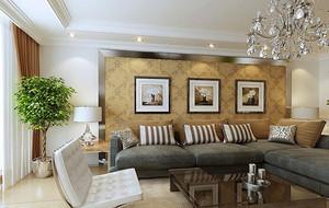 别墅欧式风格客厅沙发背景墙装修效果图鉴赏