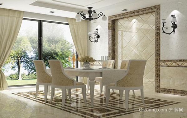 120平米别墅型欧式餐厅背景墙装修效果图