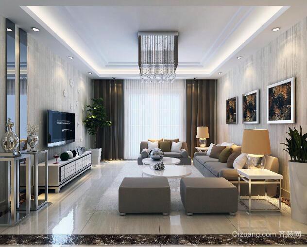 现代欧式唯美大户型客厅设计装修效果图