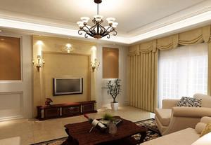 120平米三居室欧式风格客厅装修效果图