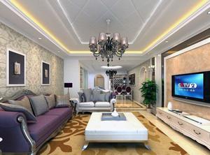 现代都市大户型客厅室内吊顶装修效果图