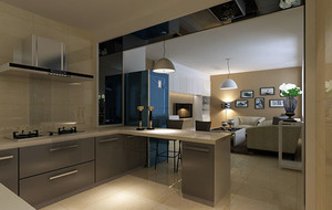 现代简约自然开放式厨房装修效果图