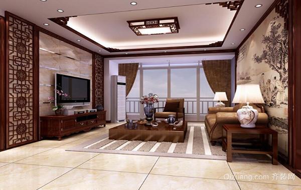 2016别墅型完美的中式客厅背景墙装修效果图