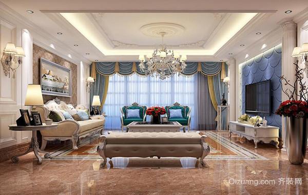 现代大户型精美的欧式客厅吊顶装修效果图