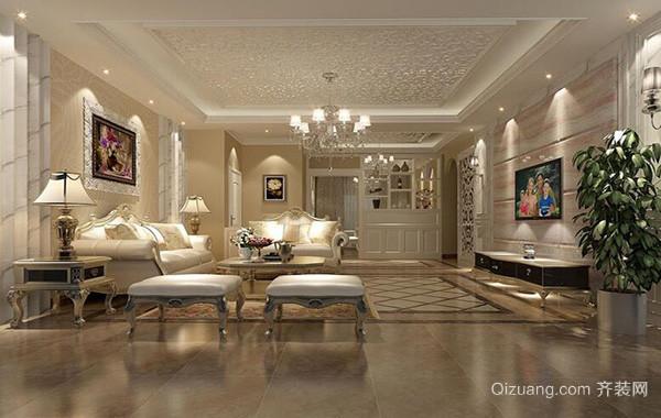 别墅型精致的欧式风格客厅背景墙装修效果图