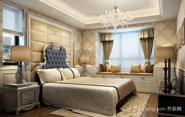 现代欧式大户型卧室背景墙设计装修效果图