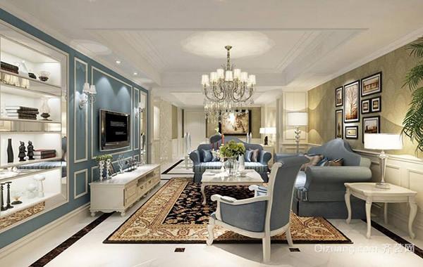 大户型欧式风格客厅室内电视墙背景效果图