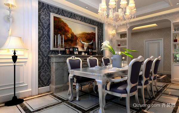 90平米大户型欧式家庭餐厅背景墙装修效果图