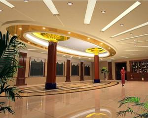 现代都市精美的大型酒店室内吊顶装修效果图