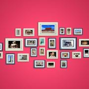 时尚靓丽照片墙效果图