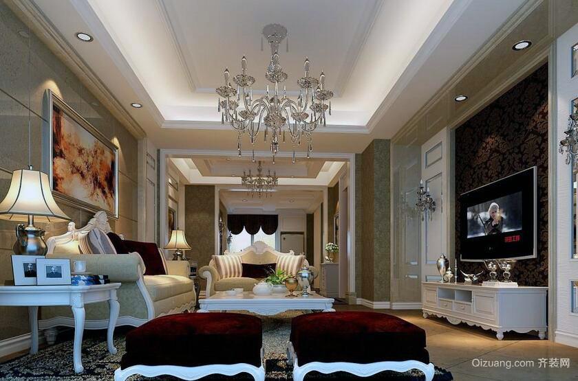现代欧式风格别墅电视背景墙装修效果图实例