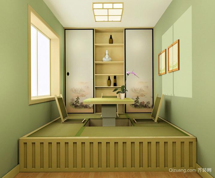 现代时尚复古榻榻米床装修效果图