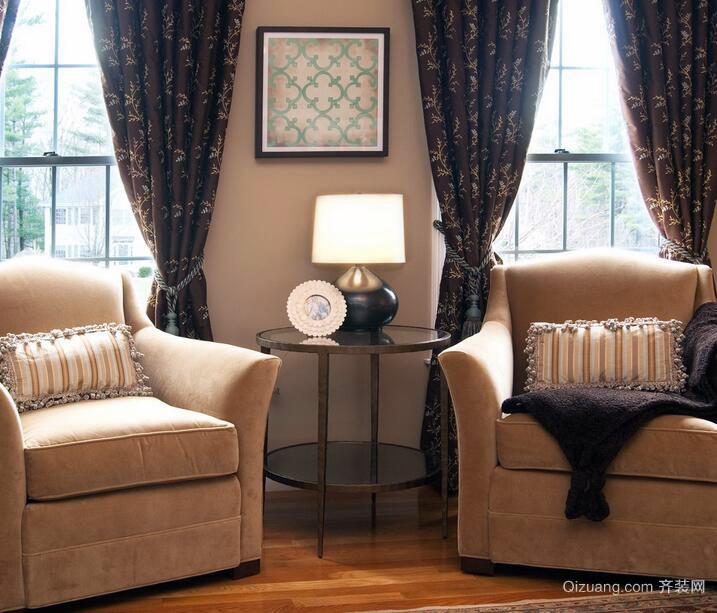 2016唯美别墅型欧式客厅窗帘装修效果图