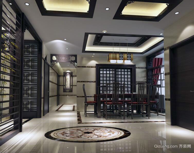 精致典雅的大户型中式餐厅装修效果图欣赏