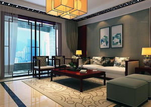 2016现代中式家装客厅电视背景墙装修效果图
