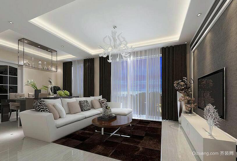 欧式风格小户型客厅电视背景墙装修效果图