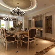 别墅型精美的简欧风格餐厅装修效果图