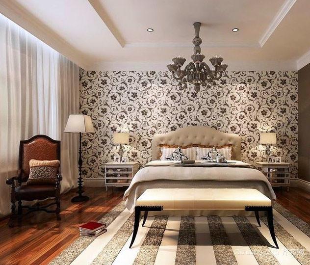 欧式田园风格卧室背景墙装修效果图
