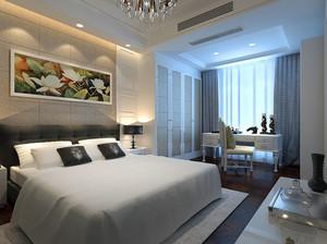 现代极简主义风格卧室背景墙装修效果图