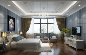 美式田园风格别墅卧室装修效果图