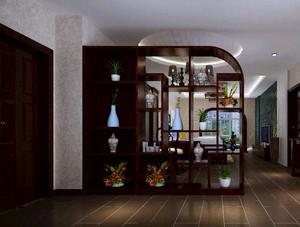 现代中式风格进门客厅玄关装修效果图