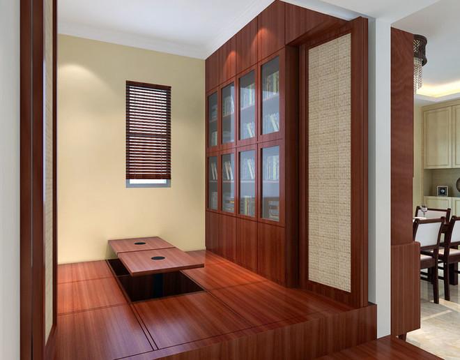复古中式简约书房榻榻米装修效果图