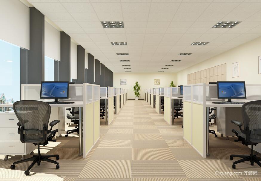精致都市室内办公室背景墙设计装修效果图