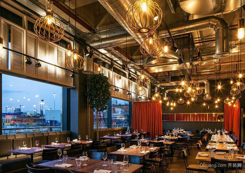 140平米乡村餐厅吊顶室内设计装修效果图欣赏