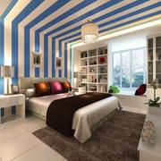 现代海洋风格卧室装修效果图
