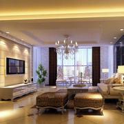 现代别墅型欧式风格客厅装修效果图