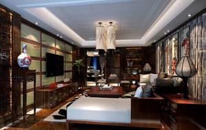 现代中式风格客厅背景墙装修效果图
