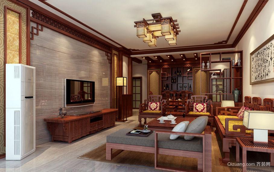 现代中式风格客厅吊顶装修效果图