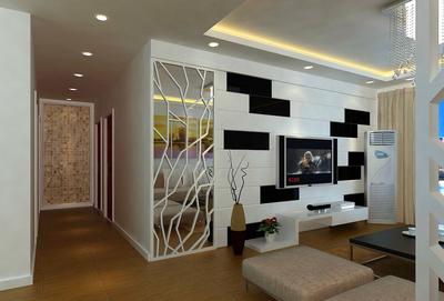 现代简约客厅电视背景墙装修效果图