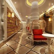 90平米清新美容院室内背景墙设计装修效果图