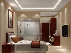 自然唯美的宾馆卧室背景墙装修效果图欣赏