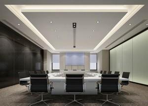 140平米精美的办公室室内背景墙装修效果图