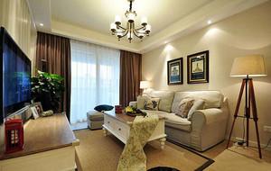 现代美式风格精致客厅吊顶装修效果图