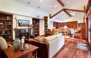 复式小楼别墅型现代美式风格客厅装修效果图