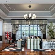 现代美式风格客厅效果图