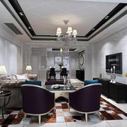 精致典雅美式客厅整体效果图