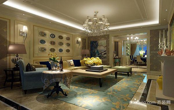 美式田园风格精致客厅装修效果图