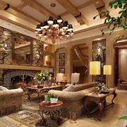 欧式奢华别墅客厅整体效果图
