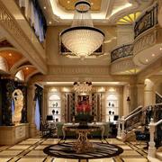 美式别墅大客厅吊顶装修效果图