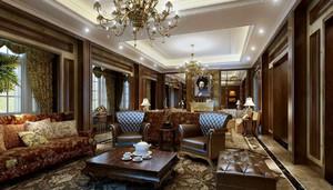 古典美式风格精致豪华客厅吊顶装修效果图