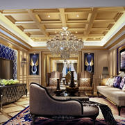 新古典主义别墅高贵典雅欧式客厅效果图